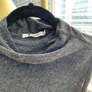 T Alexander Wang Fuzzy Crossback Mock Neck Dress
